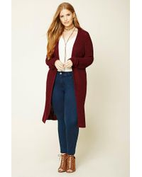 Forever 21 | Red Plus Size Longline Cardigan | Lyst