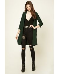 Forever 21 - Green Textured Open-front Duster Coat - Lyst