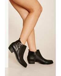 Forever 21 - Black Faux Leather Ankle Booties - Lyst