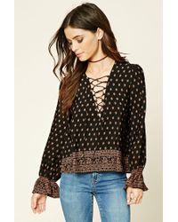Forever 21 | Black Ornate Print Lace-up Top | Lyst