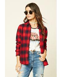Forever 21   Red Tartan Plaid Flannel Shirt   Lyst