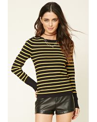 Forever 21 | Multicolor Buttoned Stripe Knit Top | Lyst