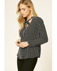 Forever 21 | Black Striped Tie-neck Shirt | Lyst