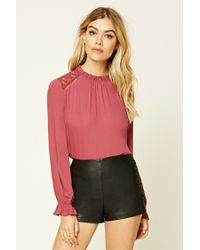 Forever 21 | Purple Floral Lace-paneled Top | Lyst