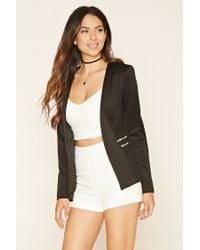 Forever 21 - Black Zippered Open-front Blazer - Lyst