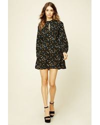 Forever 21 - Black Tiered Floral Print Shift Dress - Lyst