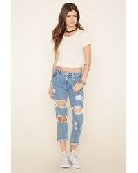 Forever 21 - Gray Marled Knit Crop Tee - Lyst