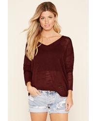 Forever 21 | Red Slub Knit V-neck Sweater | Lyst
