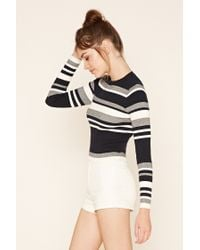 Forever 21 - Blue Colorblock Sweater Top - Lyst