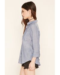 Forever 21 - Blue Woven Chambray Shirt - Lyst