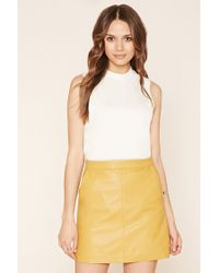 Forever 21 - Blue Contemporary Faux Leather Skirt - Lyst