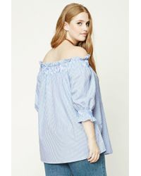 Forever 21 | Blue Plus Size Off-the-shoulder Top | Lyst