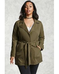 Forever 21 | Green Plus Size Belted Trench Coat | Lyst