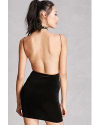 Forever 21 Black Velvet Backless Cami Dress