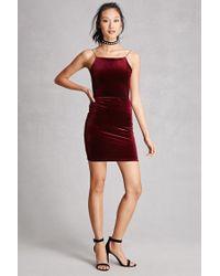 Forever 21 Red Velvet Backless Cami Dress