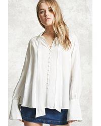 Forever 21 | White Self-tie Shirt | Lyst