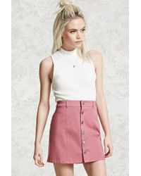 Forever 21   Purple Button-front Mini Skirt   Lyst