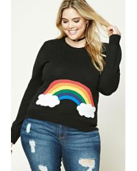 Forever 21 | Black Plus Size Rainbow Sweater | Lyst