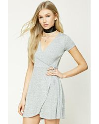 Forever 21 | Gray Marled Knit Faux Wrap Dress | Lyst