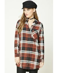 Forever 21 - Gray Buffalo Plaid Shirt Dress - Lyst