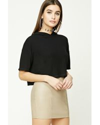 Forever 21 | Black Ribbed Hooded Crop Top | Lyst