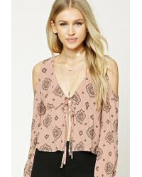 Forever 21 | Multicolor Open-shoulder Ornate Top | Lyst