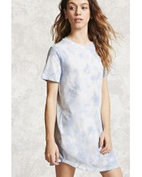 Forever 21 | Blue Crystal Dye T-shirt Dress | Lyst