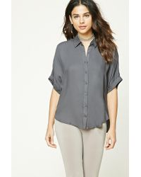Forever 21 | Gray Dolman Button-front Shirt | Lyst