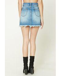 Forever 21 - Blue Distressed Denim Mini Skirt - Lyst