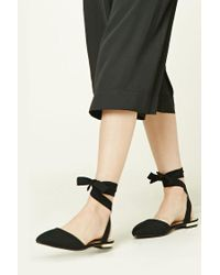 Forever 21 | Black Strappy Faux Suede Flats | Lyst