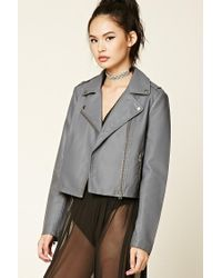 Forever 21 | Gray Faux Leather Moto Jacket | Lyst