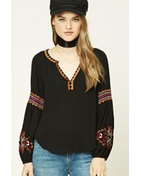 Forever 21   Black Embroidered Peasant Top   Lyst