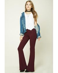 Forever 21   Purple Stretch-knit Flared Pants   Lyst