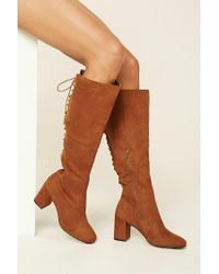Forever 21   Brown Faux Suede Tall Lace-up Boots   Lyst