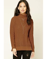Forever 21 | Brown Ribbed Turtleneck Sweater | Lyst