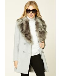 Forever 21 | Gray Faux Fur Collar Coat | Lyst
