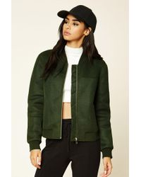 Forever 21 | Green Perforated Bomber Jacket | Lyst