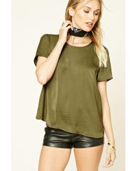 Forever 21 | Green Satin Tulip-back Tee | Lyst