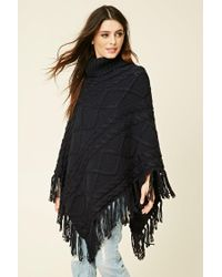 Forever 21   Blue Turtleneck Sweater Poncho   Lyst