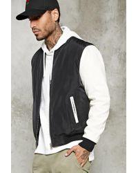 Forever 21 | Black Contrast-sleeve Bomber Jacket for Men | Lyst