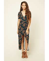 Forever 21 | Multicolor Wrap Front Maxi Dress | Lyst