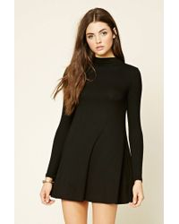 Forever 21 | Black Ribbed Turtleneck Dress | Lyst