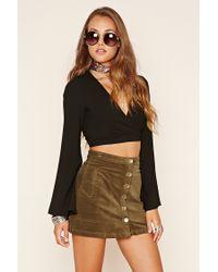 Forever 21 | Green Velvet Button-front Mini Skirt | Lyst