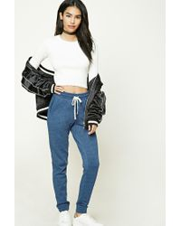 Forever 21 | Blue Heathered Pocket Joggers | Lyst