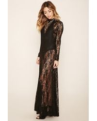 Forever 21 | Black Floral Lace Maxi Dress | Lyst