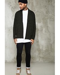 Forever 21 | Black Marled Knit Open-front Cardigan for Men | Lyst