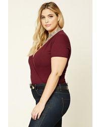 Forever 21 - Purple Plus Size Surplice Bodysuit - Lyst