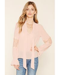 Forever 21 - Pink Self-tie Chiffon Blouse - Lyst