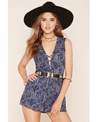 Forever 21 | Blue Abstract Paisley Lace-up Playsuit | Lyst