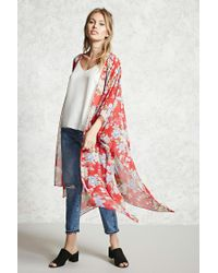 Forever 21 - Red Contemporary Floral Kimono - Lyst